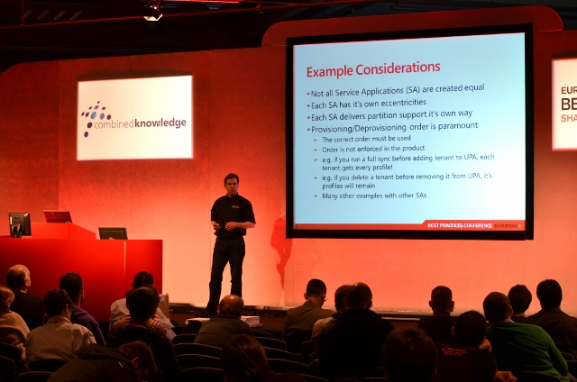 Spencer on stage at the Best Practices Conference, London, April 2011